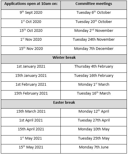table of dates for the small grants programme